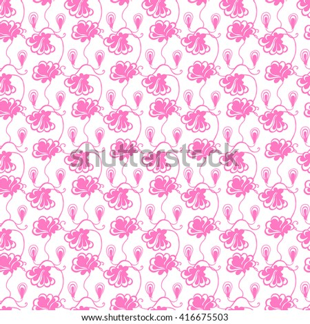 Seamless creative hand-drawn pattern of stylized flowers in pale magenta and white colors. Vector illustration. - stock vector