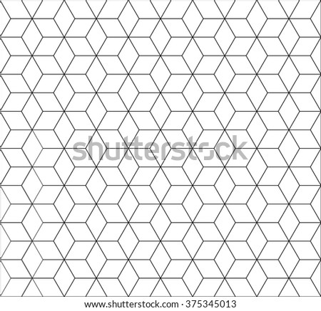 seamless cubic pattern with black and white.rhombus and minimalist and repetition and monochrome - stock vector