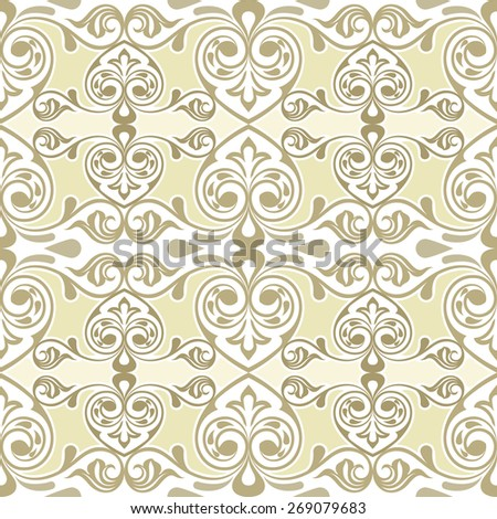 Seamless curly swirls vintage vector wallpaper pattern. - stock vector