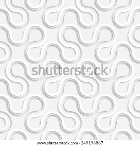 Seamless Curved Shape Pattern. 3d Vector Background. Regular White Texture - stock vector