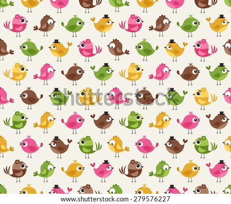 seamless cute birds colorful cartoon pattern - stock vector