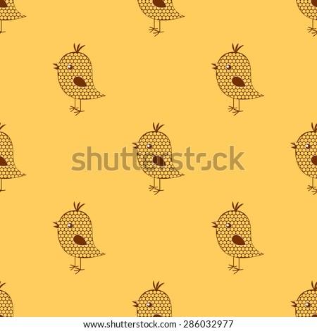 seamless cute birds colorful cartoon pattern. eps 10 - stock vector