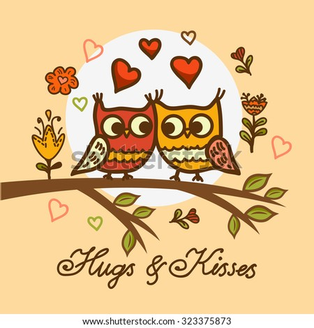 Seamless cute cartoon owls birds pattern background.  Valentines Day design. - stock vector