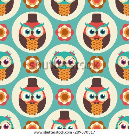 seamless cute cartoon owls wallpaper pattern background - stock vector