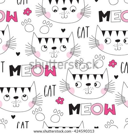 seamless cute cat pattern vector illustration - stock vector