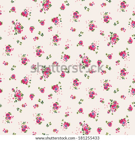 Seamless cute ditsy flower pattern in vector - stock vector