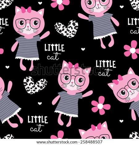 seamless cute fashion cat pattern vector illustration - stock vector
