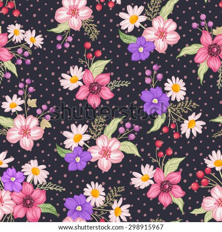 Seamless cute floral vector pattern background. Flower pattern on dark background - stock vector