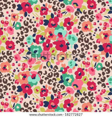 seamless cute flower mix and leopard vector pattern. - stock vector