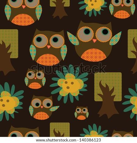 Seamless cute owl pattern - stock vector