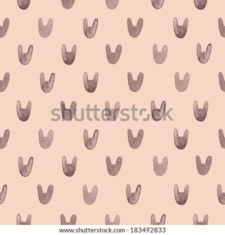 Seamless cute pattern with watercolor rabbits. Vector illustration - stock vector