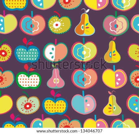 Seamless cute retro apple  and pearl kids pattern in vector - stock vector