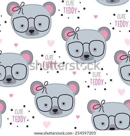 seamless cute teddy pattern vector illustration - stock vector