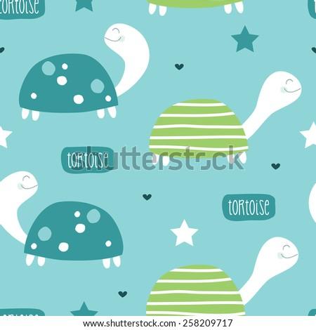 seamless cute tortoise pattern vector illustration - stock vector