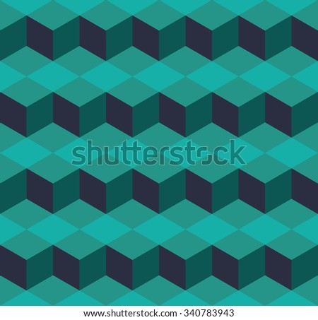 Seamless cyan isometric cubes levels puzzle illusion pattern vector - stock vector