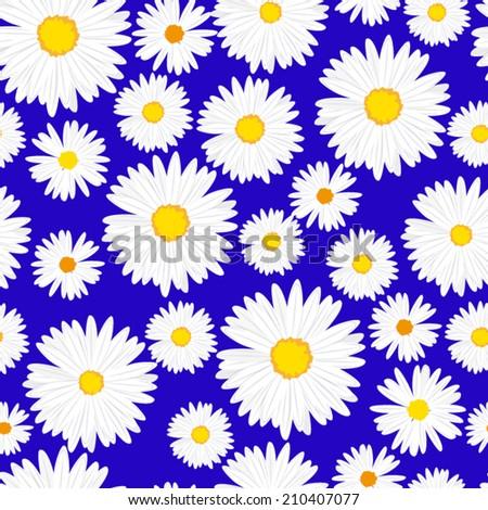 Seamless daisies vector pattern  - stock vector