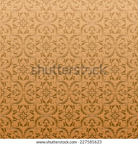 Seamless Damask Background Pattern Design and Wallpaper Made of Turkish Texture Ceramic Tiles in Vector - stock vector