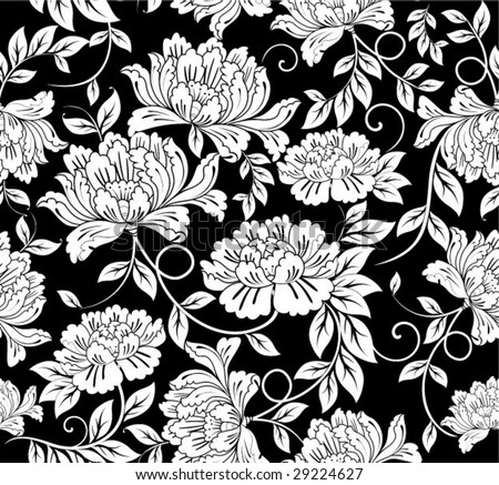 Seamless Damask floral background pattern - stock vector