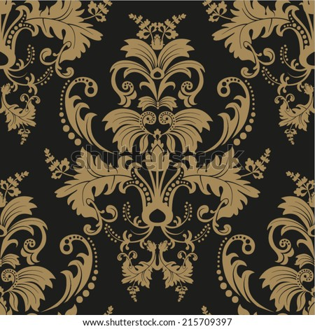 Seamless damask pattern. Dark background - stock vector