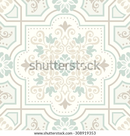 seamless damask pattern in pastel color - stock vector