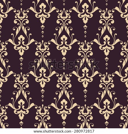 Seamless damask pattern. Ornamental background with lace elegant pattern - stock vector