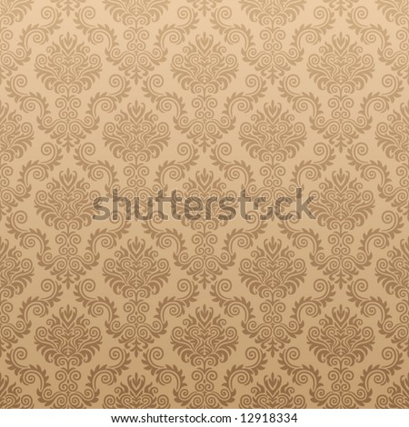 Seamless Damask wallpaper - stock vector