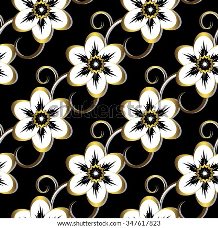 Seamless dark floral pattern with black-gold vintage flowers, vector - stock vector