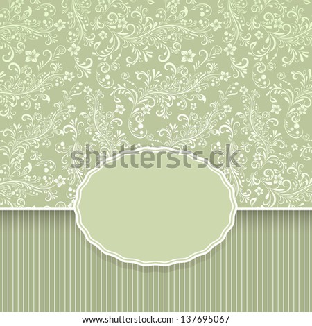Seamless dark green floral vintage vector background with copy space. - stock vector