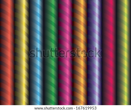 Seamless decor. Decorative colored ribbon wrapped around the tube. Volume effect. - stock vector