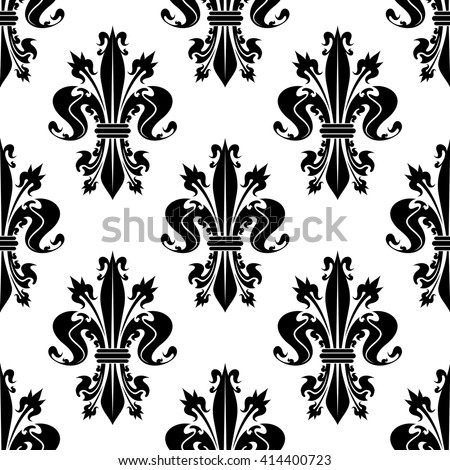 Seamless decorative black fleur-de-lis pattern over white background with curly spiky floral compositions of royal lilies. French heraldic backdrop, history, monarchy concept design - stock vector