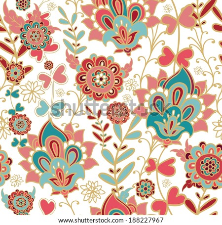 Seamless decorative floral pattern in oriental style - stock vector