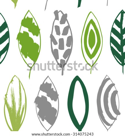 Seamless decorative green pattern with ink drawn leaves. Vector texture in grunge style - stock vector