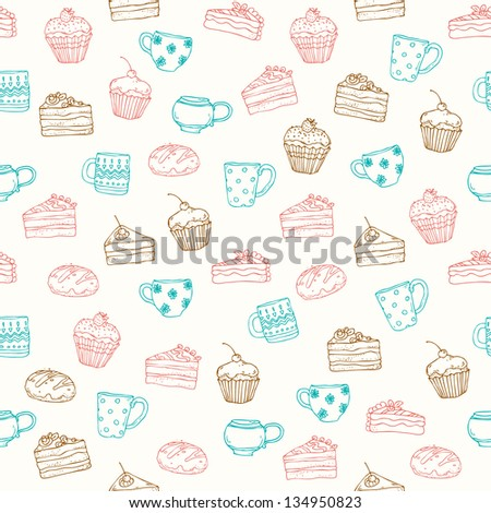 Seamless decorative hand drawn pattern with cakes, muffins and tea cups. Endless cute texture with sweets, template for design and decoration - stock vector
