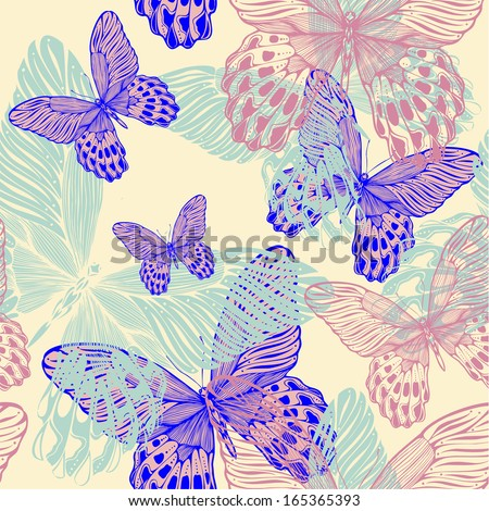 Seamless decorative pattern with colorful butterflies, hand-drawing. vector illustration. - stock vector