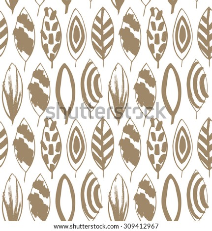 Seamless decorative pattern with ink drawn leaves. Beige texture in grunge style - stock vector