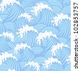 Seamless decorative pattern with waves in vintage style - stock vector