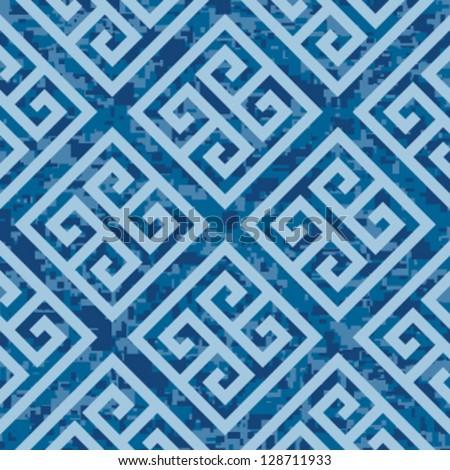 Seamless Deep Ocean Greek Key Background Pattern - stock vector