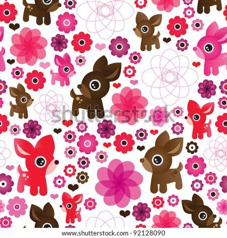 Seamless deer turtle bunny animal love wallpaper pattern in vector - stock vector