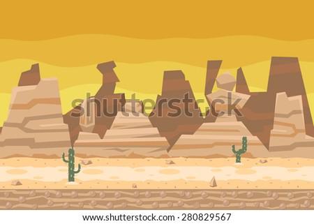 Seamless Desert Road Cactus Nature Concept Flat Landscape Background Template Vector Illustration - stock vector