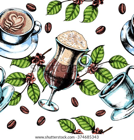 Seamless dessert coffee background with Latte in glass, espresso, cappuccino, coffee beans and coffee branch. Ink drawn illustration. - stock vector