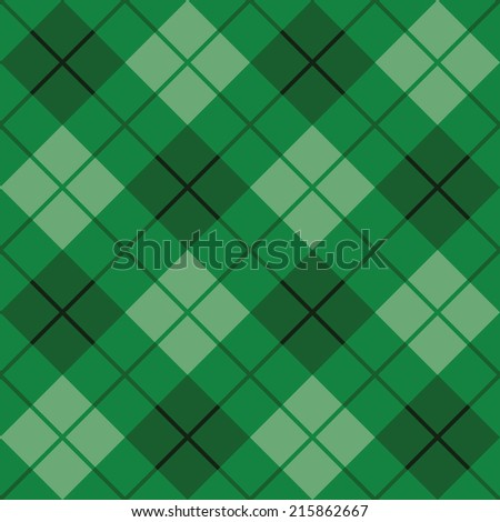 Seamless diagonal plaid pattern in green. - stock vector