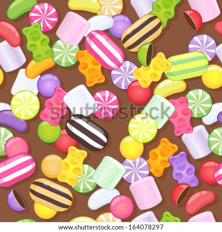 Seamless different sweets pattern. Assorted candies on brown background. - stock vector