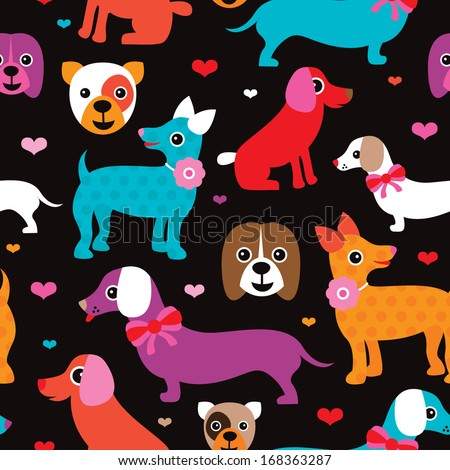 Seamless dogs and puppy illustration background pattern in vector - stock vector