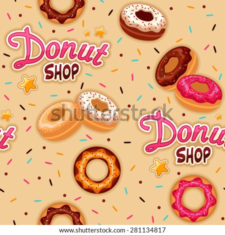 Seamless donut shop background - stock vector