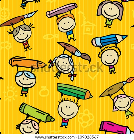 Seamless doodle background of happy drawing kids with pen, pencil and paint - stock vector