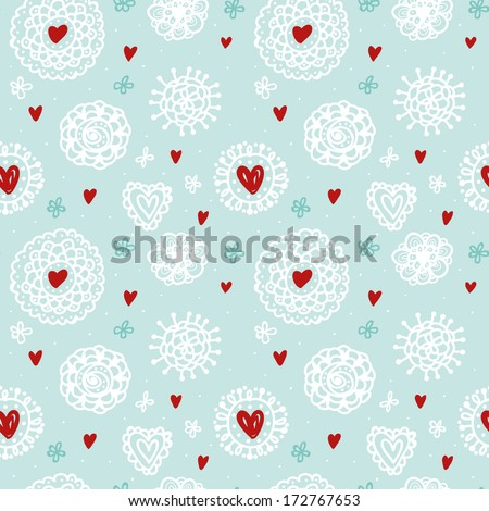seamless doodle background with lace snowflakes and hearts - stock vector