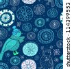 Seamless doodle background with snowflakes and birds, vector - stock vector