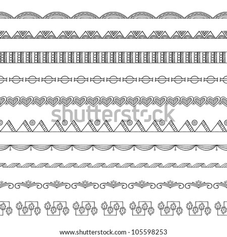 Seamless Doodle Border and Frame Elements - stock vector