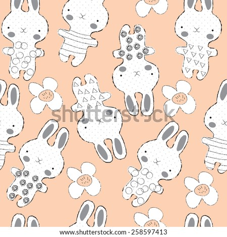 Seamless doodle bunny vector illustration - stock vector