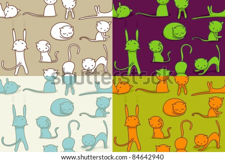 Seamless doodle cats pattern, four color versions. - stock vector